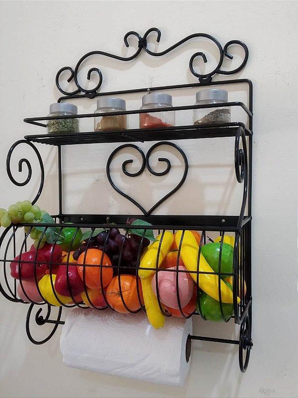Fruteira de Parede com Porta Tempero / Papel