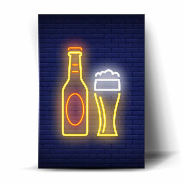 Garrafa e Tulipa Cerveja - Neon