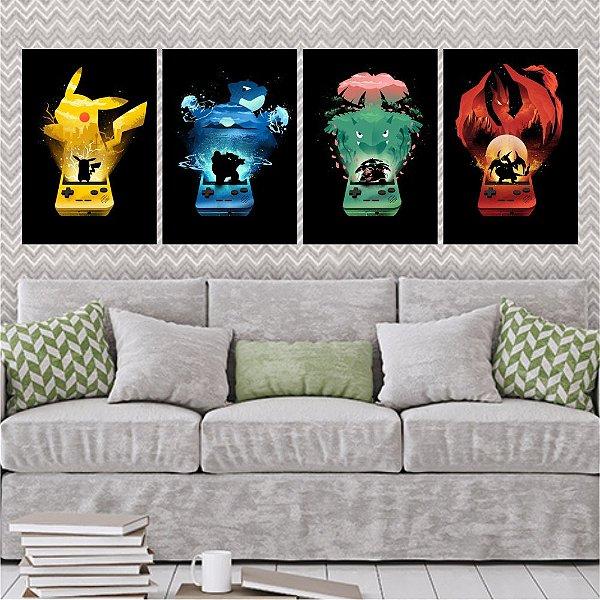 Kit 4 Placas Pokemon Game Boy Art