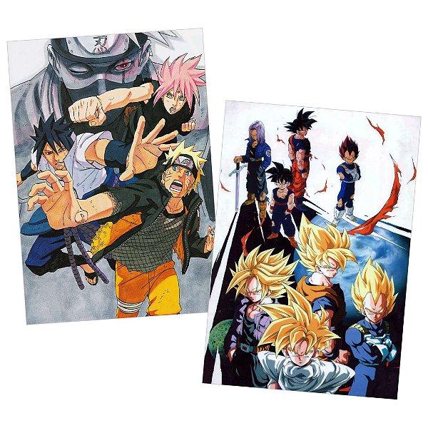 Kit 2 Placas Naruto / Dragon Ball 30x40cm - Promoção