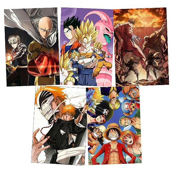 Kit 5 Placas Animes Variados 15x21cm - Promoção