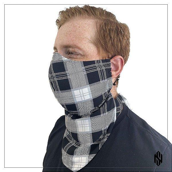 Máscara para Barbudos Xadrez Escocês Preto