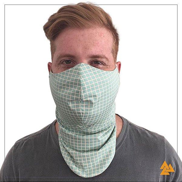 Máscara para Barbudos Estampa Verde Xadrez Bege
