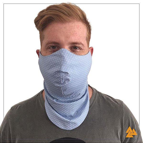 Máscara para Barbudos Estampa Poa Brando Fundo Azul