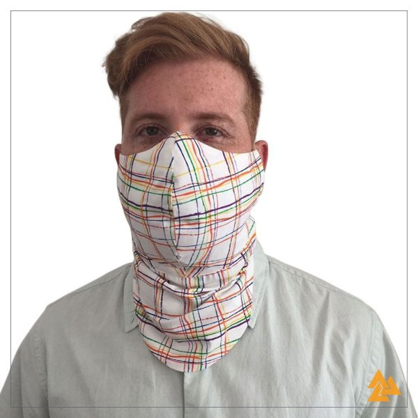 Máscara para Barbudos Estampa Xadrez Colorido
