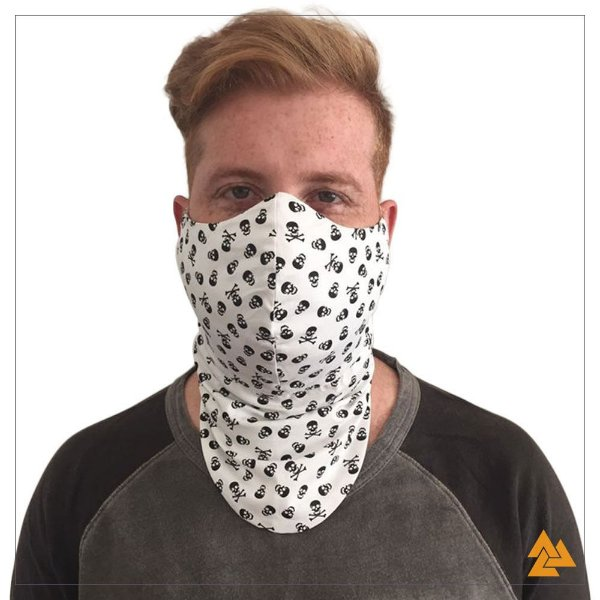 Máscara para Barbudos Branca Estampa Caveira