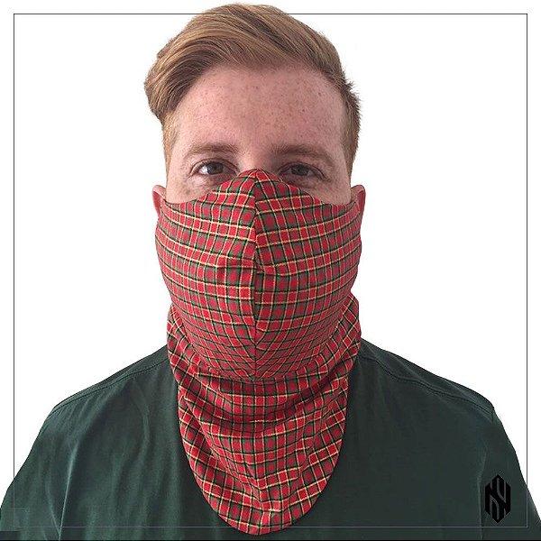 Máscara para Barbudos Estampa Xadrez Vermelho