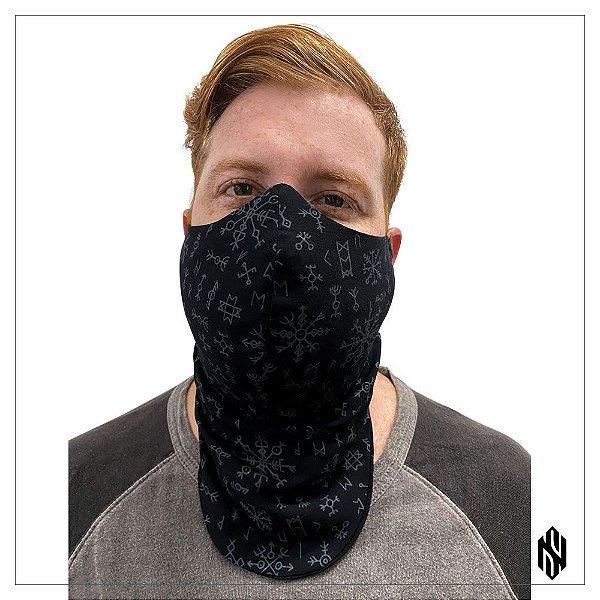 Máscara Para Barbudos Preta Estampa Nórdica Exclusiva