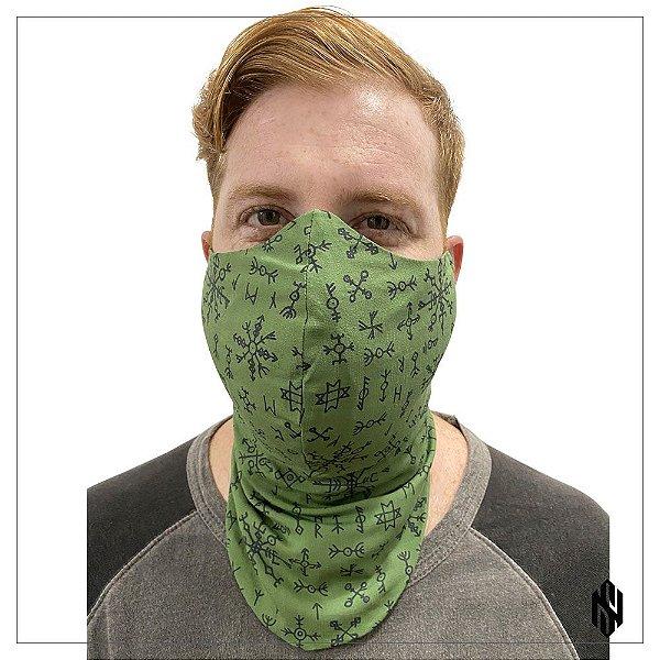 Máscara Para Barbudos Verde Estampa Nórdica Exclusiva