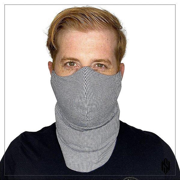 Máscara para Barbudos Estampa xadrez marinho e branco