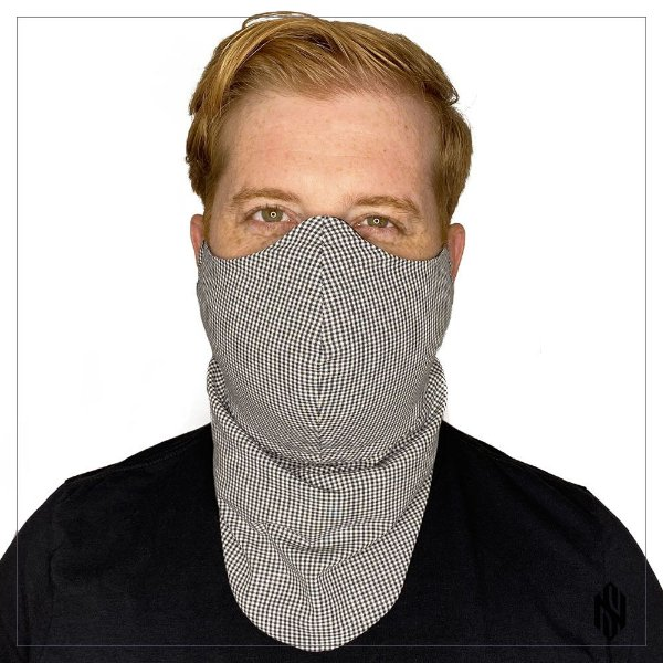 Máscara para Barbudos Estampa xadrez preto e branco