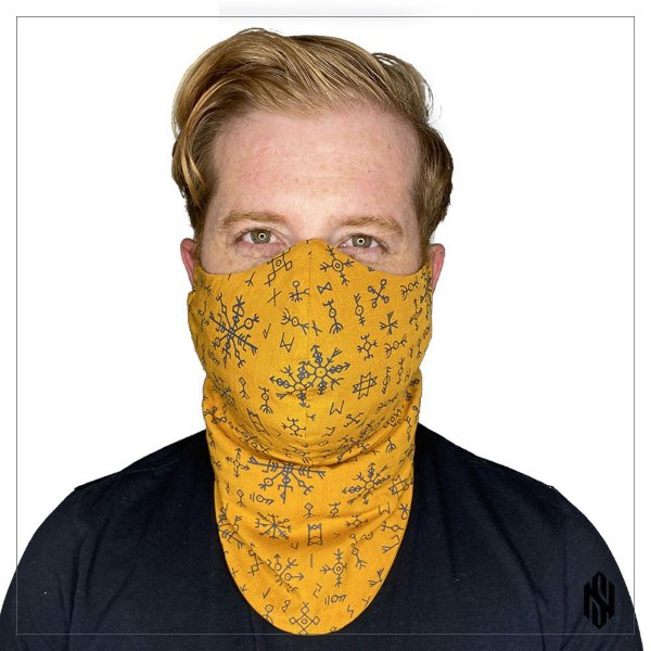 Máscara Para Barbudos Ouro Estampa Nórdica Exclusiva