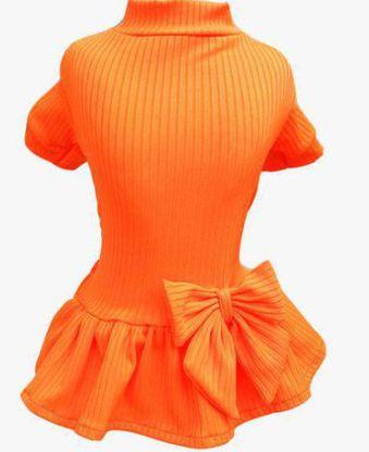 Vestido canelado Neon Laranja