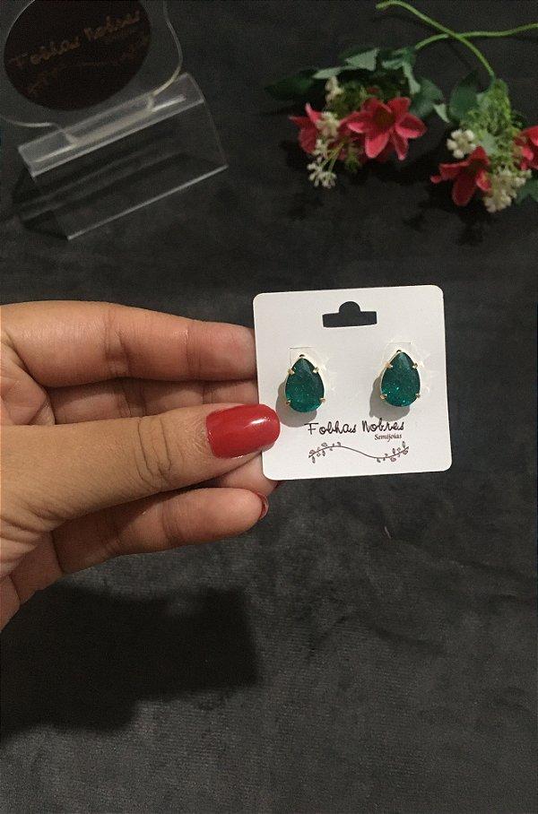 Brinco gota pedra fusion verde