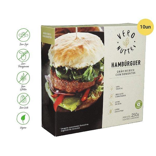 Hambúrguer Vegetal Vero Nuttri  Grão de Bico com Sementes 250g (Cx c/ 10un)