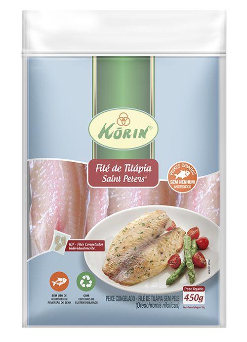 Filé de tilápia congelada sustentável 450g Korin