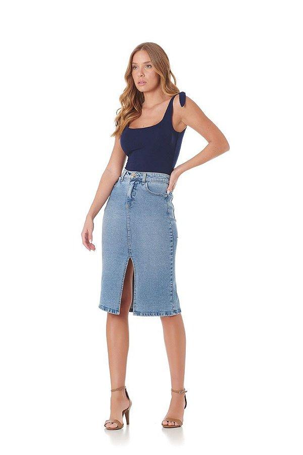 Saia Midi Jeans Fenda