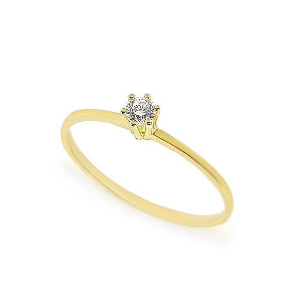 Anel solitário Veneza em Ouro 750 18K com Diamante (Unidade)