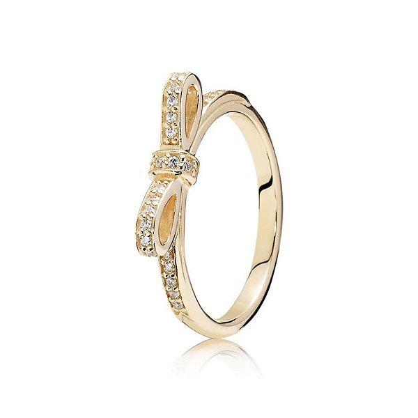 Anel de Ouro 750 18K Laço com Diamantes