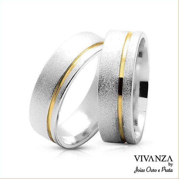 Aliança de Compromisso Diamantada Friso Dourado (Unidade)