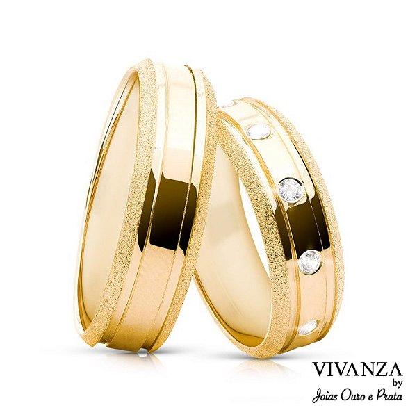 Aliança Diamantada 6 Pedras Banhada Ouro 24k (Unidade)