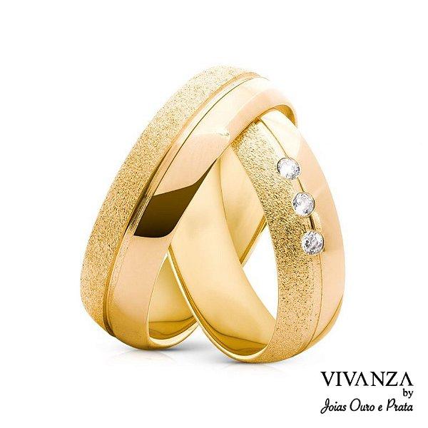 Aliança Metade Diamantada 3 Pedras Banhada Ouro 24k (Unidade)