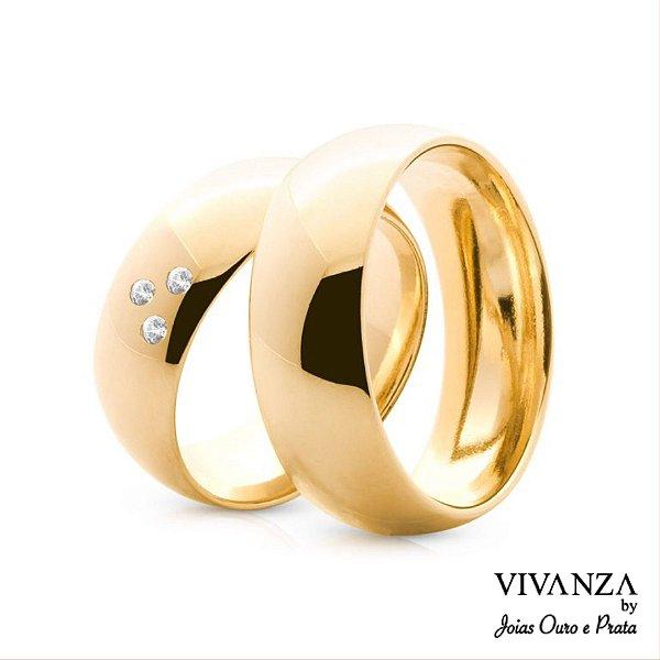 Aliança Tradicional 3 Pedras Banhada Ouro 24k Anatômica (Unidade)