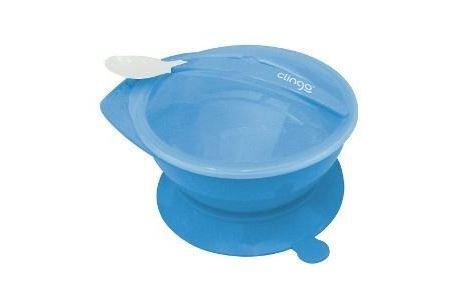 Prato Com Ventosa E Colher Azul Clingo