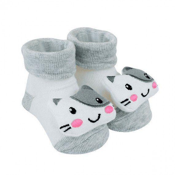 Pantufa Para Bebê Gatinho Cinza Clingo
