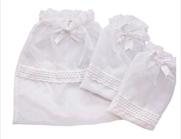 Kit Maternidade Voal Branco 3 Pçs Blubrelel Baby