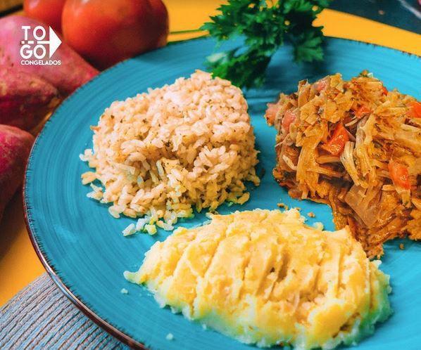 Jaca Fit refogada com arroz integral e purê de batata doce - Vegano