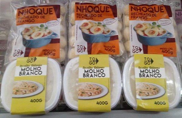 Kit Nhoque Recheado de Frango ao Molho Branco