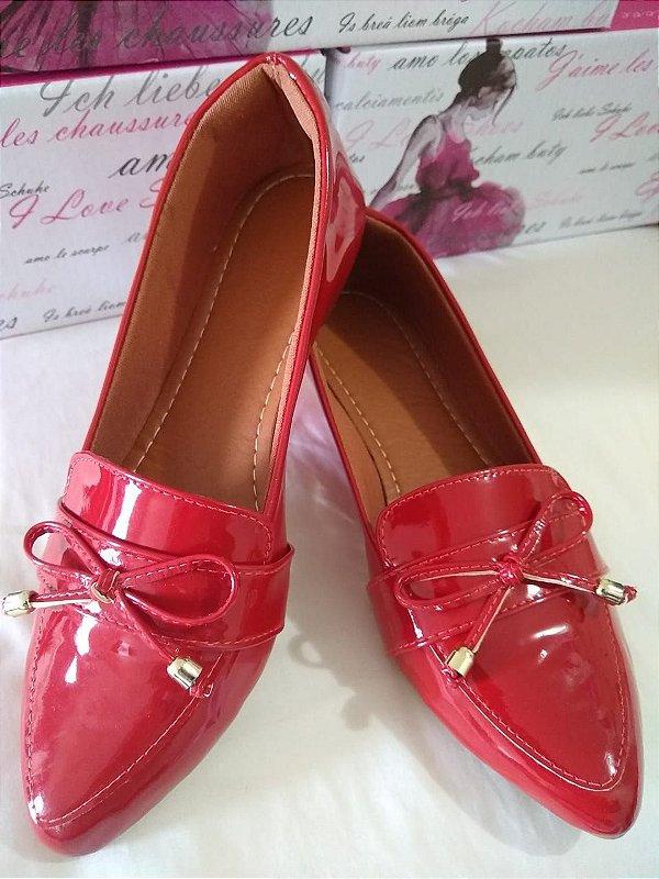 Sapatilhas Modamor em Verniz Vermelho Charmoso Super fashion e  Confortável
