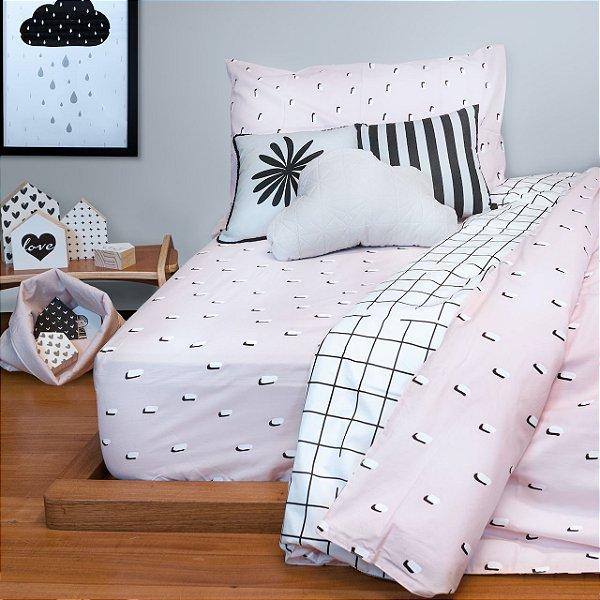 Kit cama Pontinhos Rosa (Júnior ou solteiro)