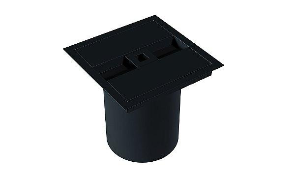 Lixeira Quadrada de embutir com puxador quadrado BLACK