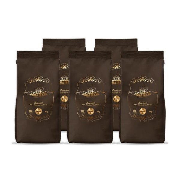Promoção 5 kgs - Café Dona Irani Superior torrado em grãos 1000g
