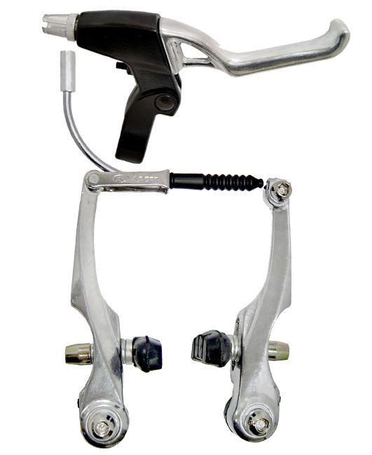 Freio V-Brake com Manete Alumínio com Cabos/Conduite