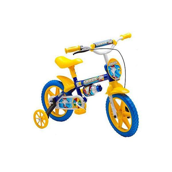 Bicicleta Infantil Aro 12 - Nathor Shark - Aço - Azul e Amarelo