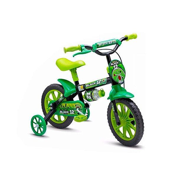 Bicicleta Infantil Aro 12 - Nathor Black - Aço - Preto e Verde