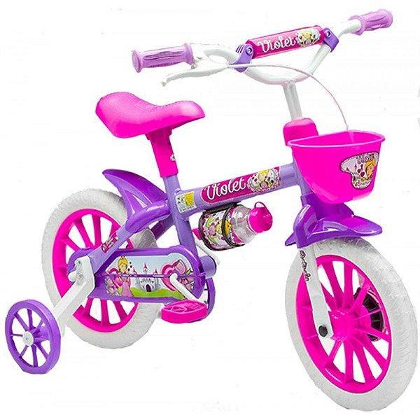 Bicicleta Infantil Aro 12 - Nathor Violet - Aço - Lilás e Pink