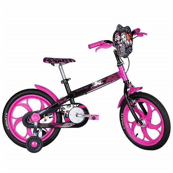 Bicicleta Aro 16 Infantil - Caloi Monster High - Aço -  Preta e Rosa