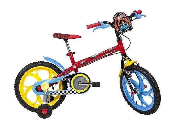 Bicicleta Infantil Aro 16 - Caloi Hotwheels - Aço - Vermelho, Amarelo e Azul
