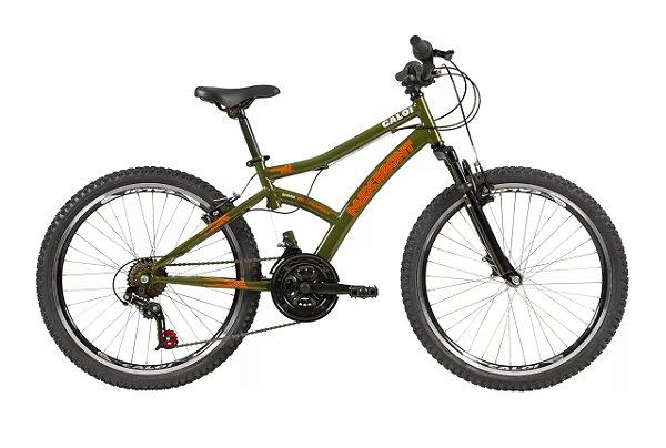 Bicicleta Aro 24 Masculina - Caloi Max Front C/Suspensão Dianteira - Aço -  Verde Militar