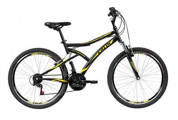 Bicicleta Aro 26 Masculina - Caloi Andes - 21 Velocidades C/ Suspensão - Aço - Preta