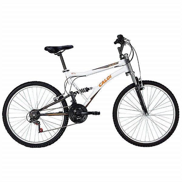 Bicicleta MTB Caloi XRT aro 26 Suspensão Full Branca