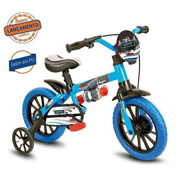 Bicicleta Infantil Aro 12 - Nathor Veloz - Aço - Azul e Preto