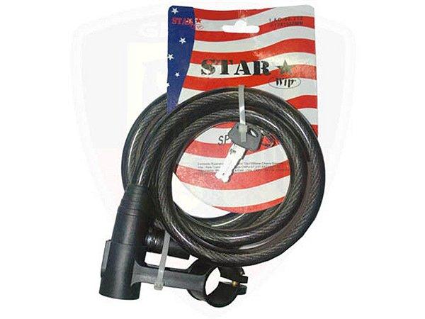 Cadeado P/ Bicicleta - Star - 12mm x 1.5m - Espiral - Cabo de Aço Encapado - Preto