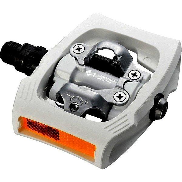 Pedal Shimano MTB T-400 Click-R Com Taco Branco