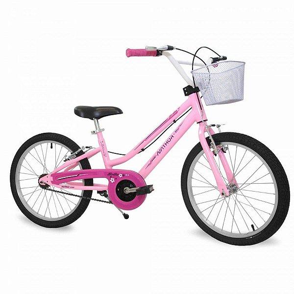 Bicicleta Infantil Aro 20 - Nathor Bella - Aço - Rosa