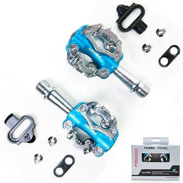 Pedal Zeray MTB com Rolamento Azul e Tacos ZP-102S
